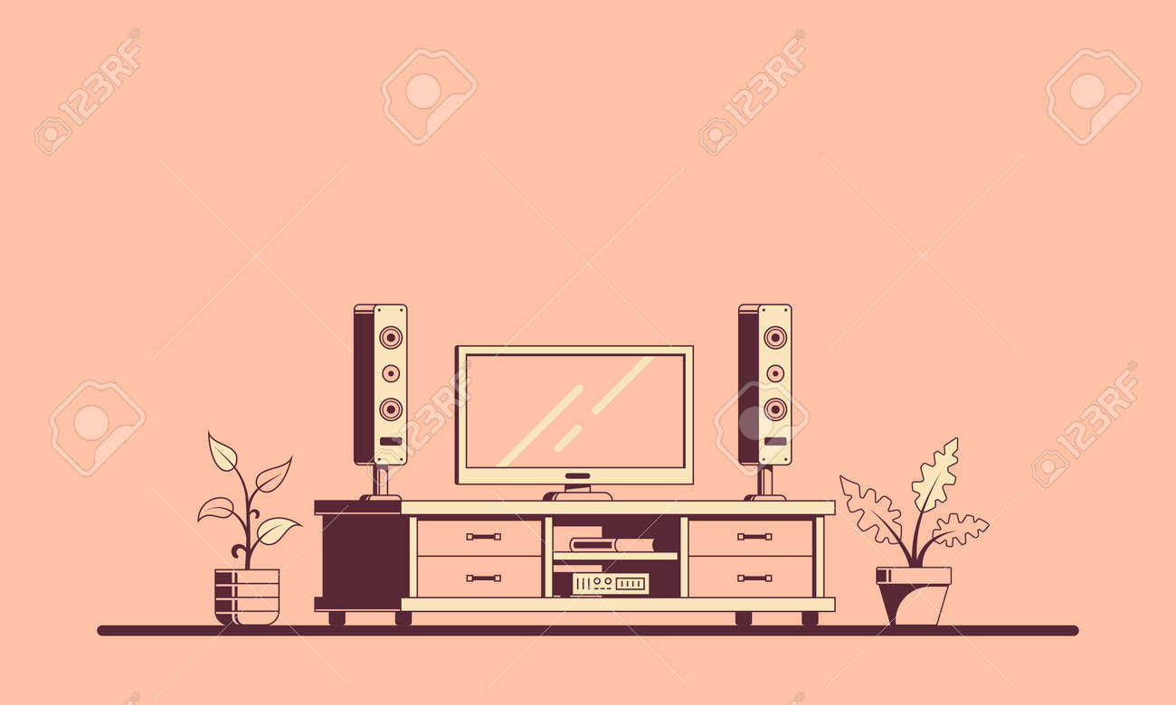Tv Room With Furniture Flat Style Illustration Of A Room Interior Royalty Free Cliparts Vectors And Stock Illustration Image 130366881