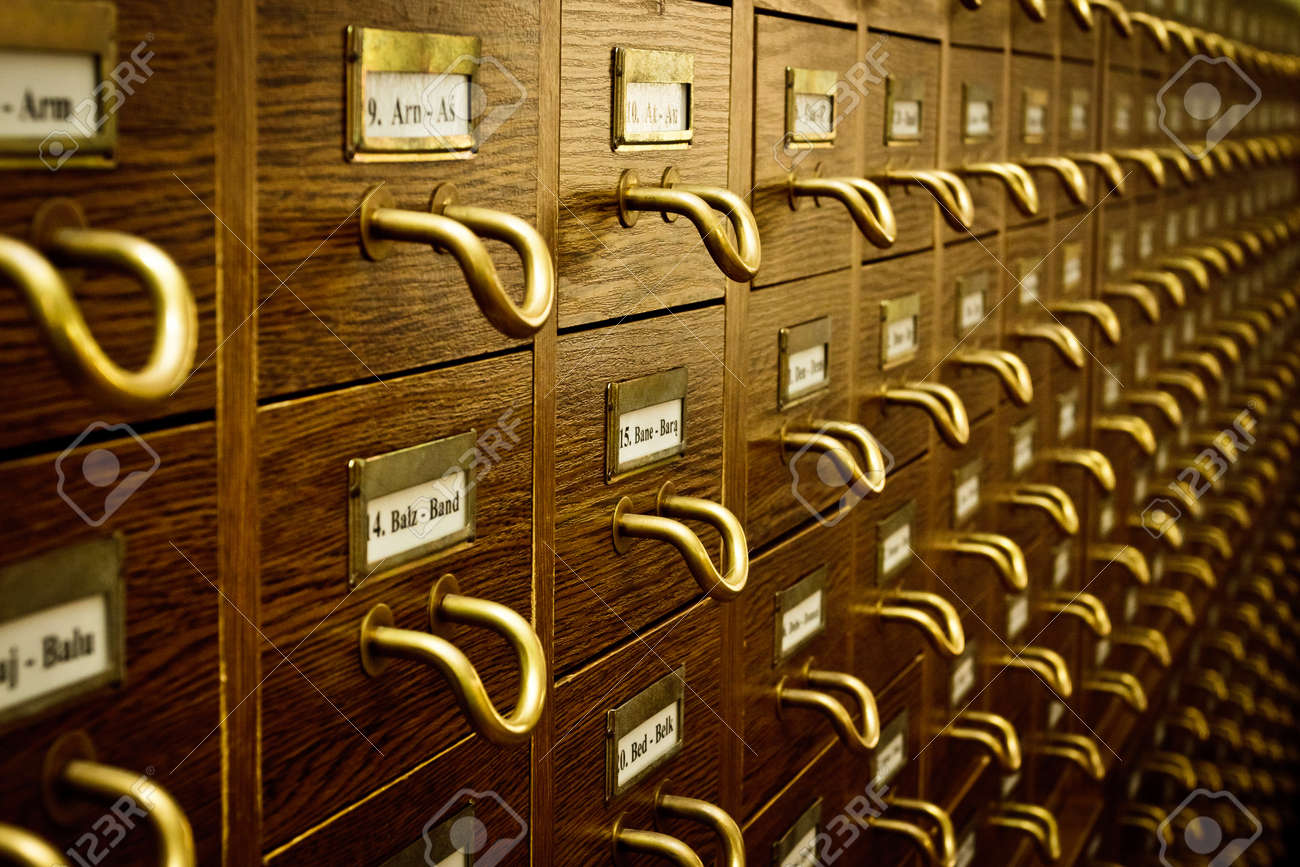 Old Vintage Library Card Catalog Stock Photo - 9594594