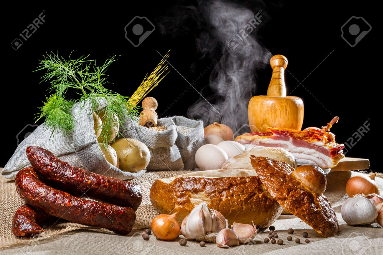 Rural Easter breakfast with sour soup Stock Photo - 13139137