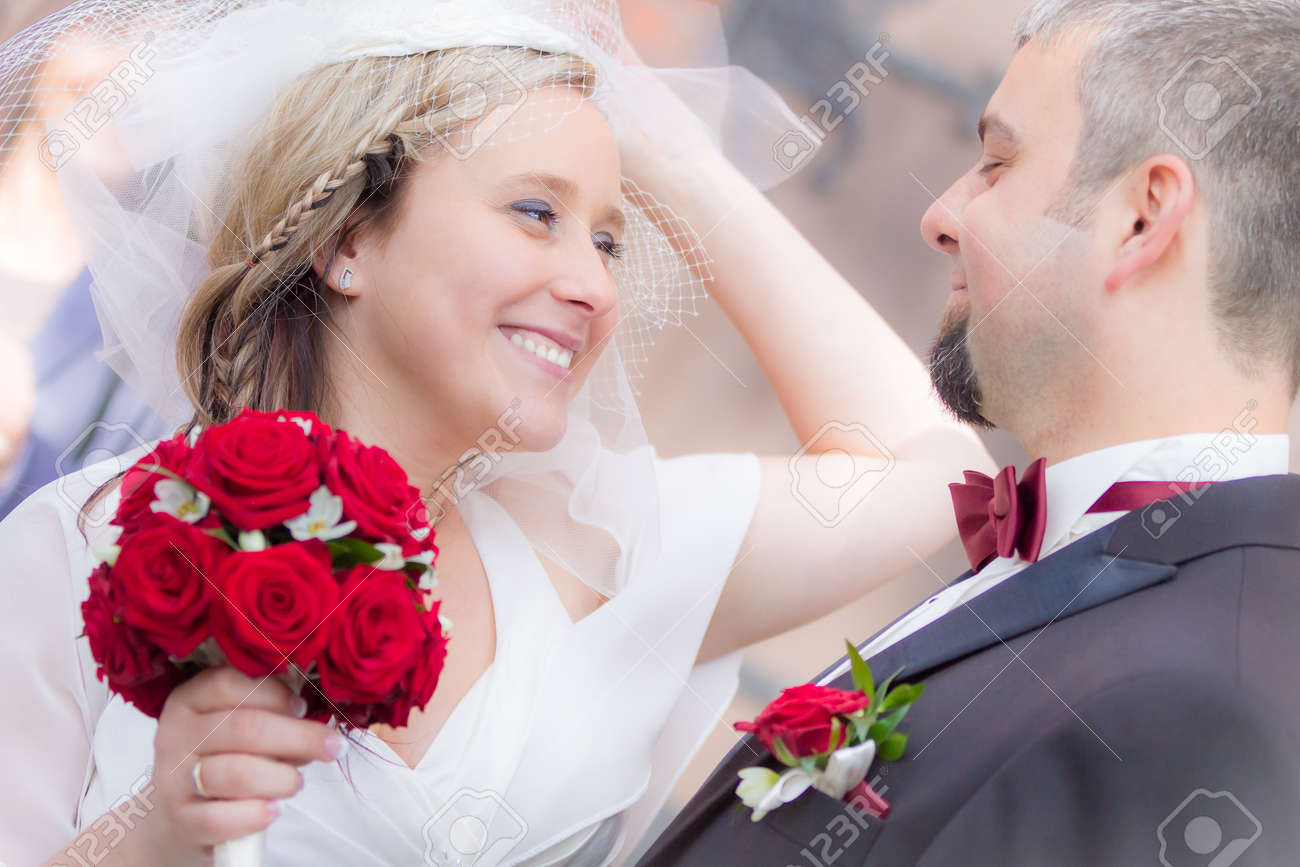 Happy young couple after the wedding ceremony Stock Photo - 14119196