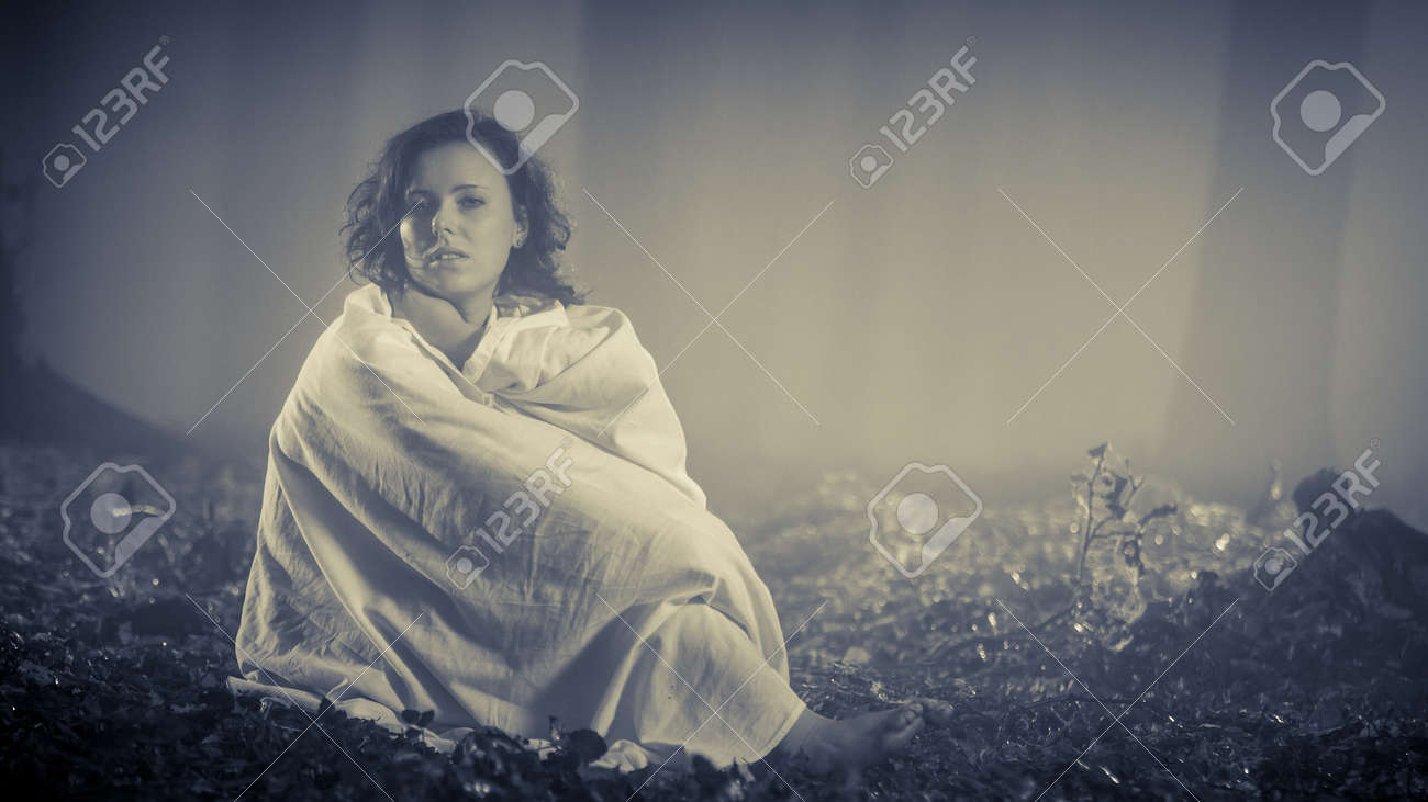 Woman in the woods as a daydreaming Stock Photo - 16119396