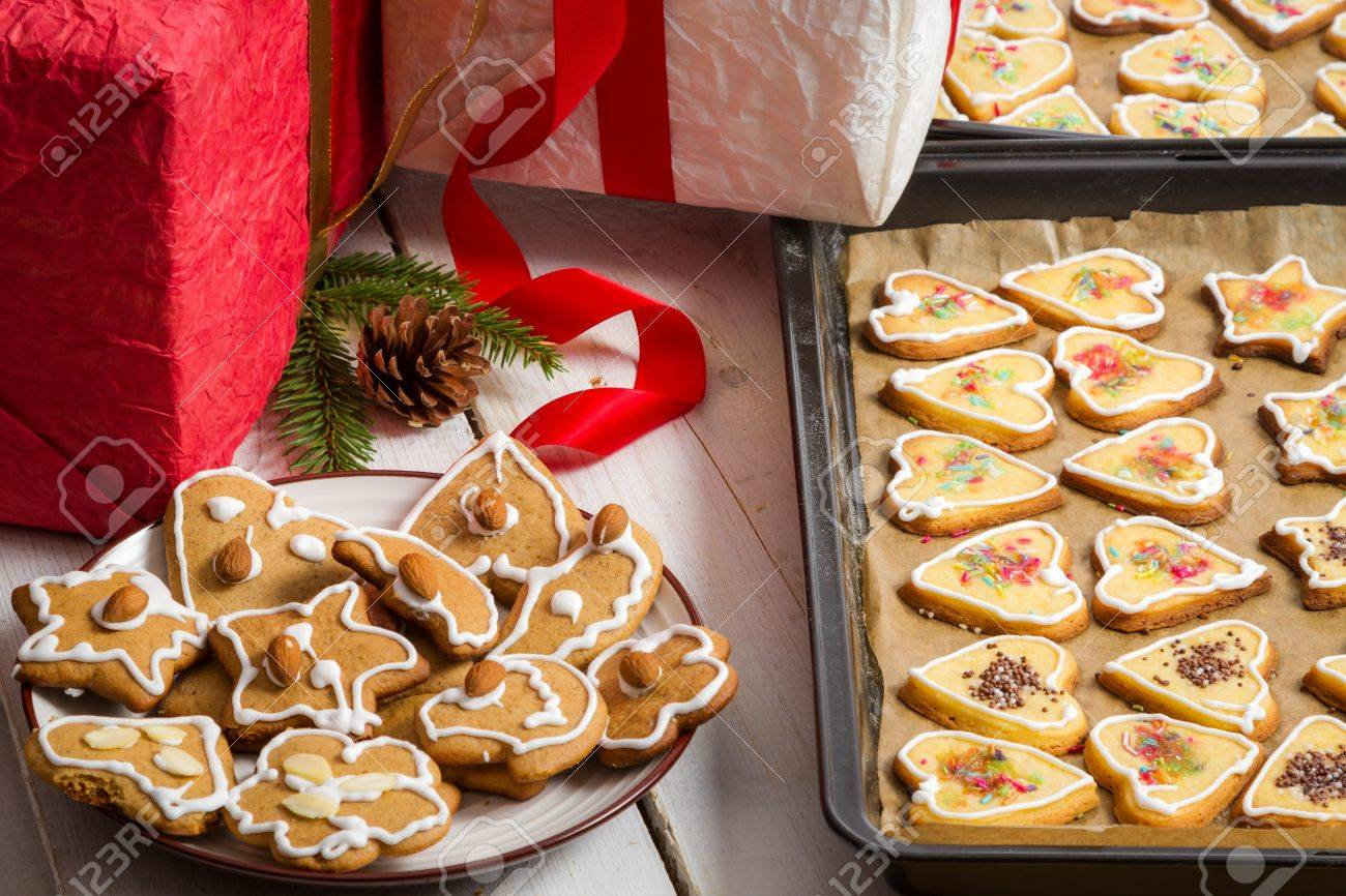 Christmas Gifts And Homemade Gingerbread Cookies On Baking Tray ...