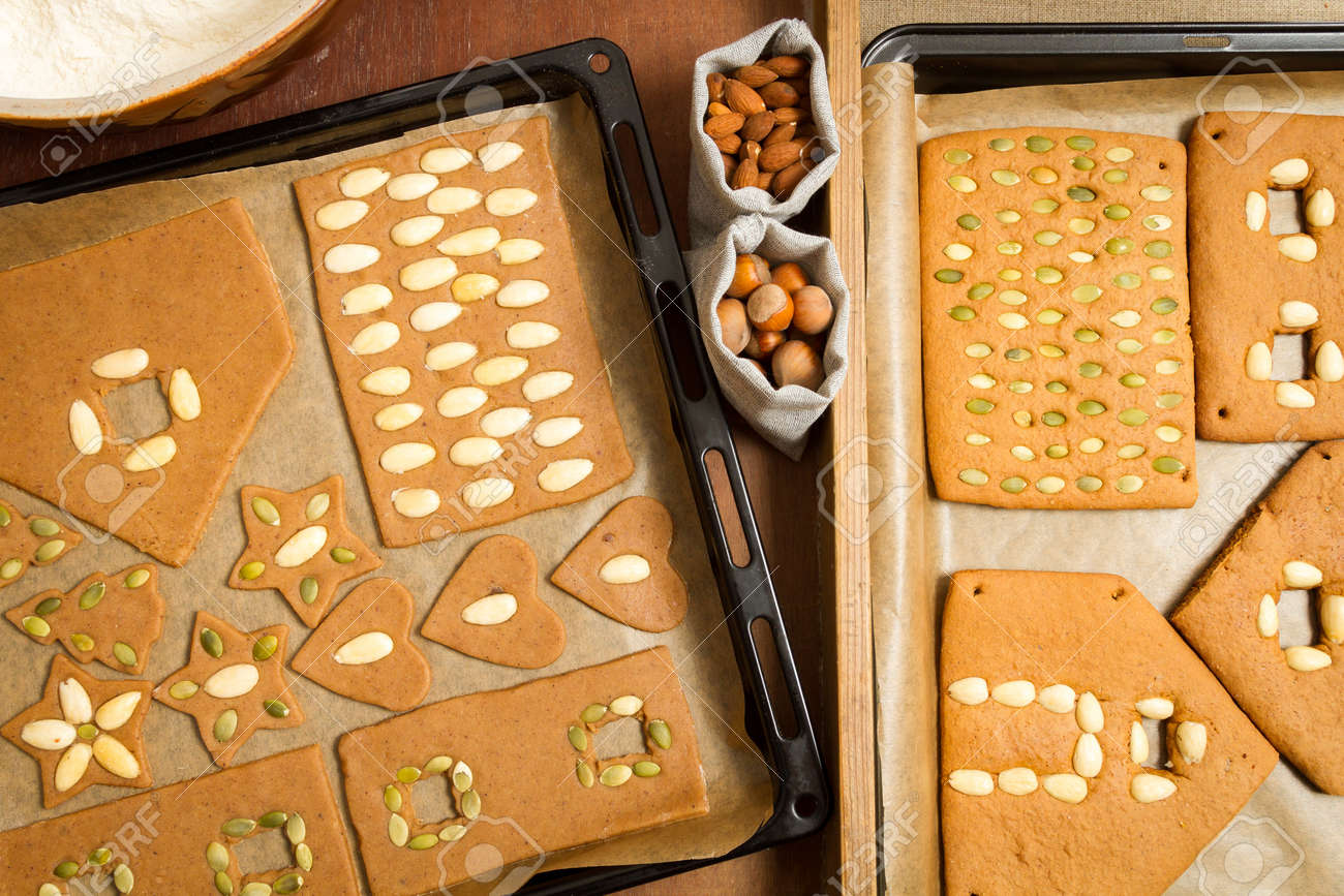 Before and after baking gingerbread cookies with nuts Stock Photo - 16397486