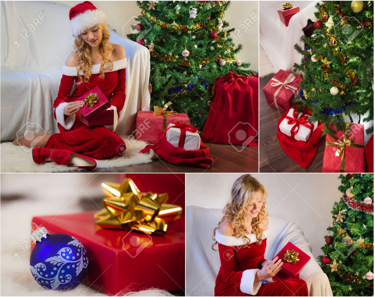 Postcard For Christmas With Christmas Tree And Gifts No. 5 Stock ...