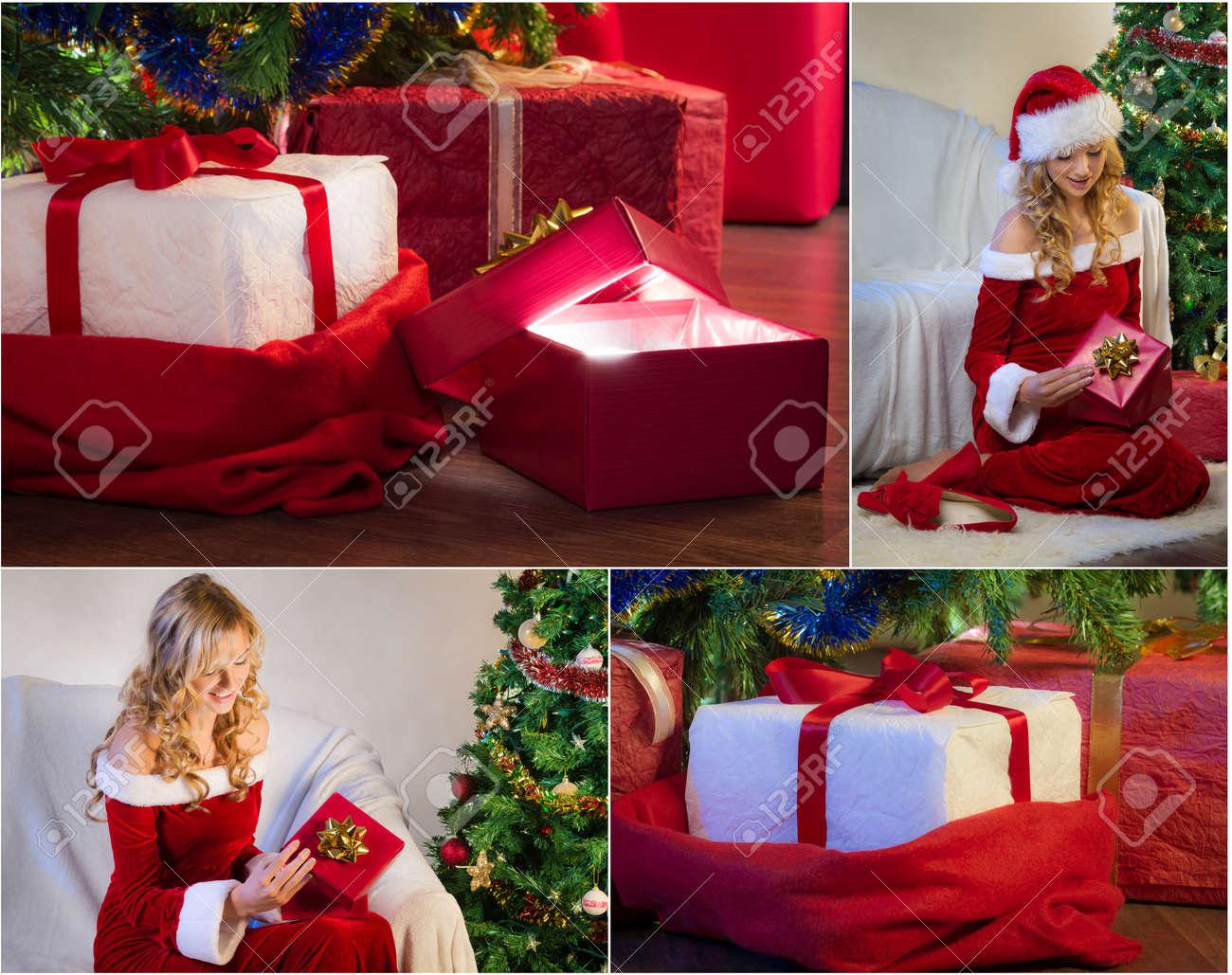 Postcard For Christmas With Christmas Tree And Gifts No. 2 Stock ...