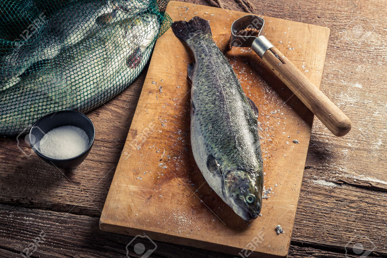 Closeup of preparing fish for dinner in the countryside Stock Photo - 18889619