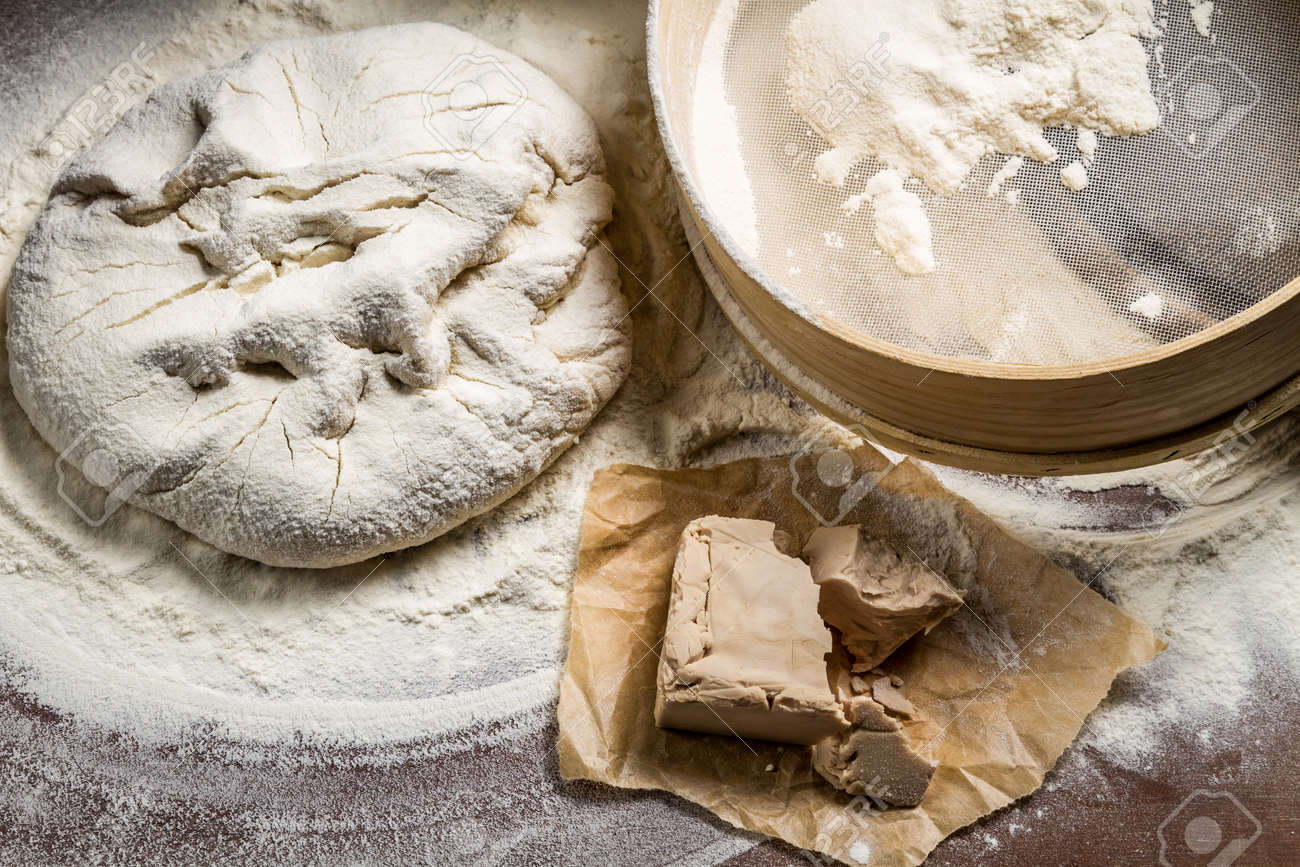 homemade pizza dough made from yeast and flour stock photo picture