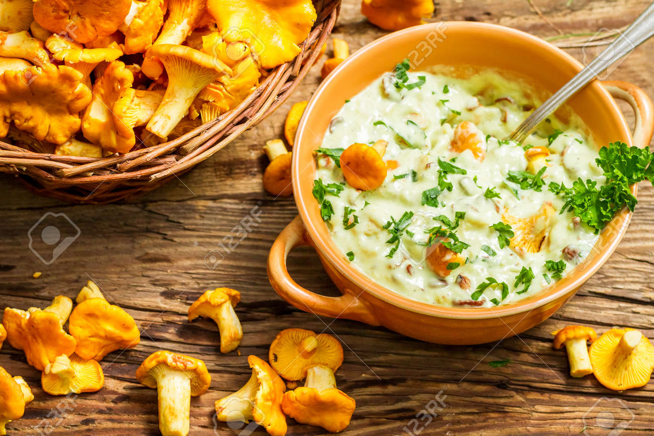 Fresh mushroom with cream and parsley are in the forest Stock Photo - 21353374