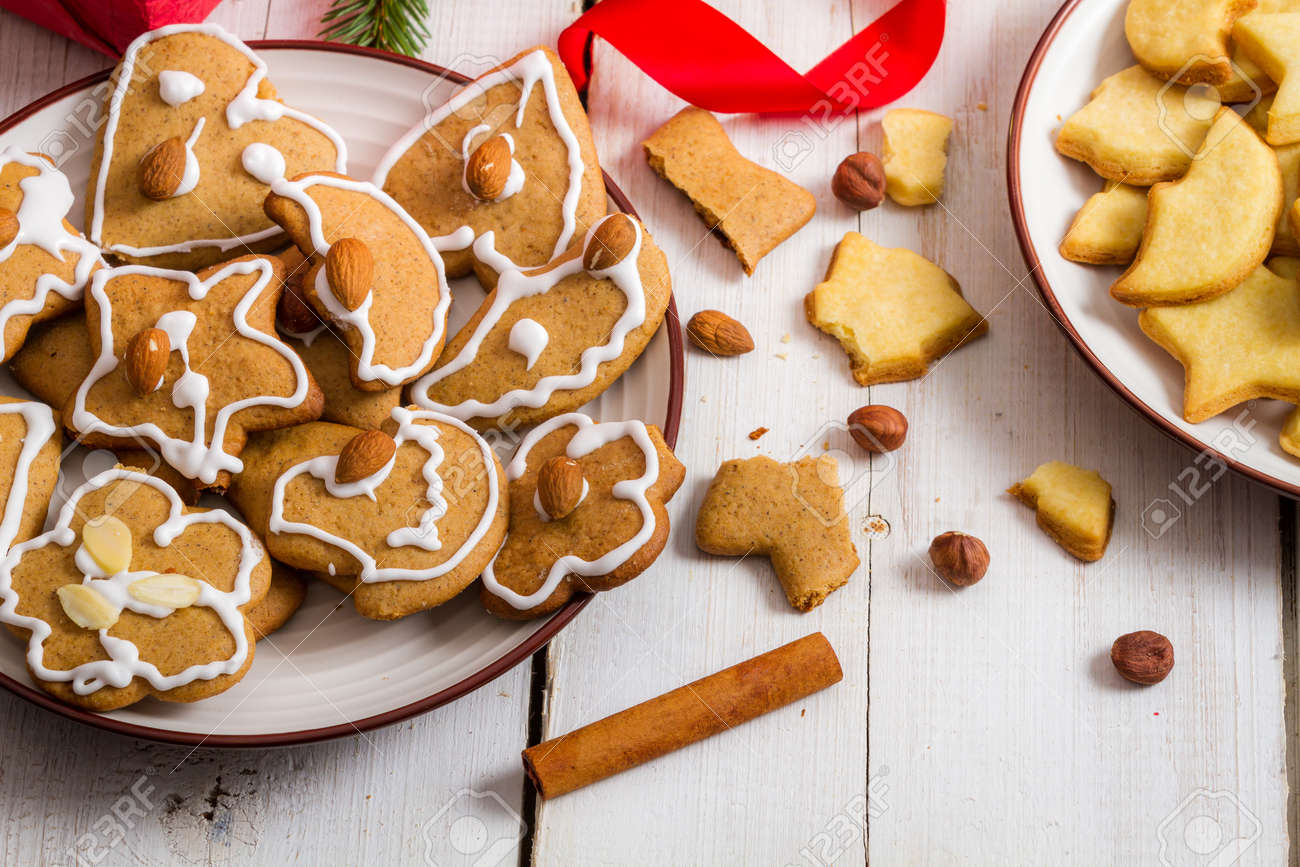 Snacking Christmas cookies on a plate Stock Photo - 21572052