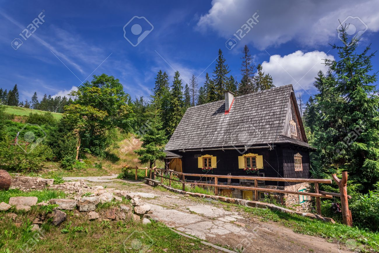 House In The Mountains Awesome Small Wooden House In The Mountains In  Summer Stock Photo Picture
