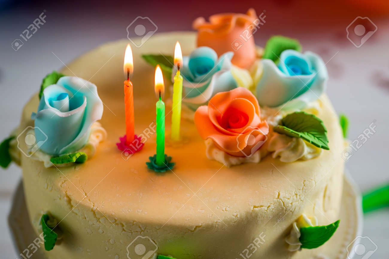 Fantastic Beautiful Birthday Cake With Lighted Candles And Marzipan Roses Personalised Birthday Cards Cominlily Jamesorg