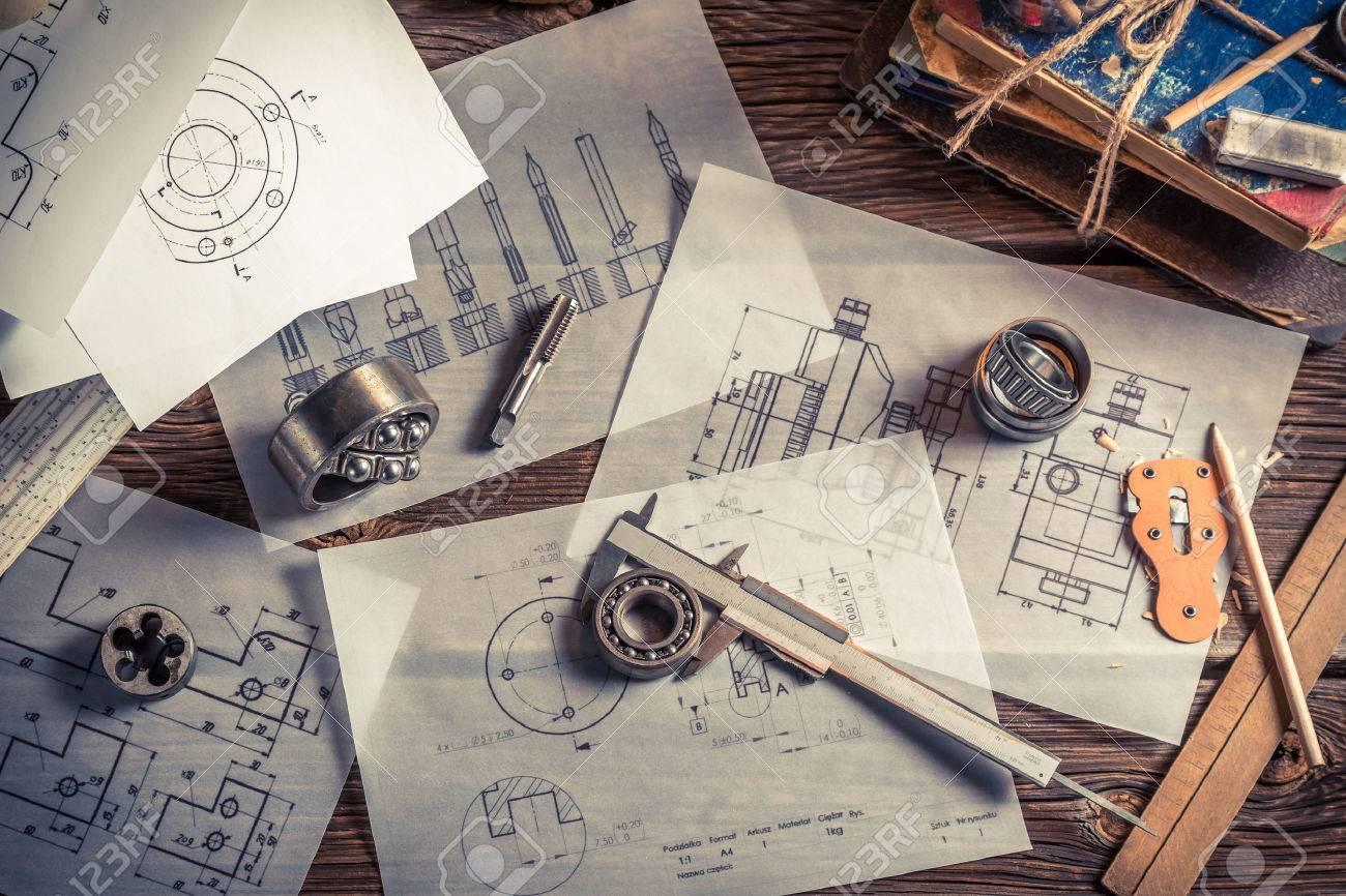 Engineering and design - Engineering Design Vintage Mechanical Engineer Desk