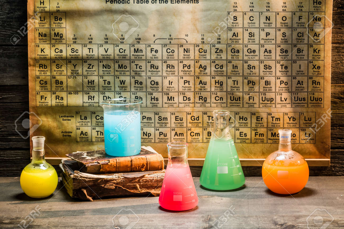 Old chemical lab with periodic table of elements stock photo old chemical lab with periodic table of elements stock photo 55644118 urtaz Image collections