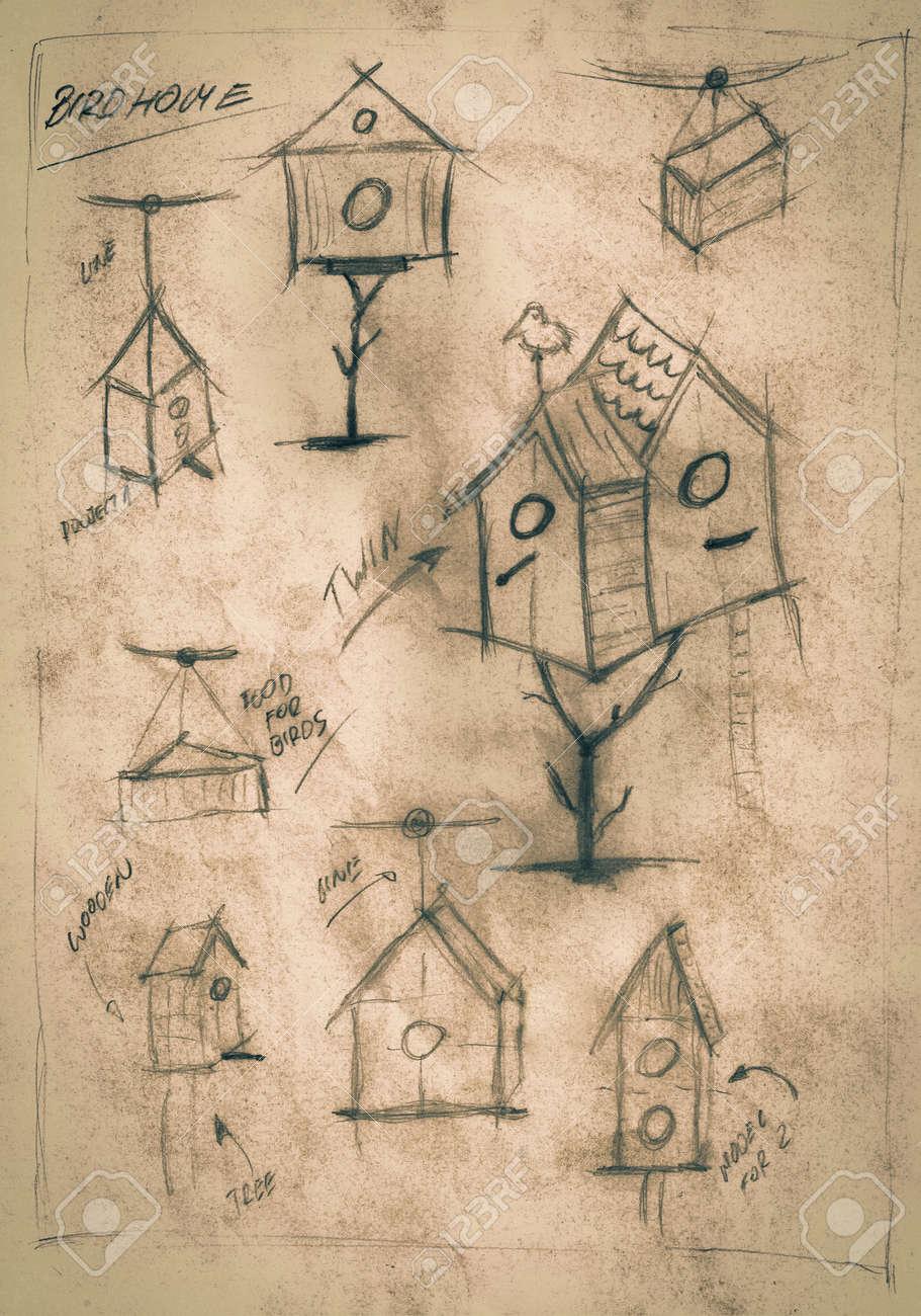 Sepia handmade diagram of how to build a birdhouse stock photo sepia handmade diagram of how to build a birdhouse stock photo 86872078 ccuart Images
