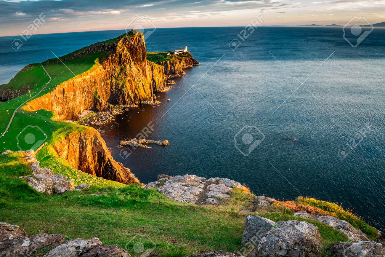 The Neist point lighthouse at dusk, Scotland, UK - 97371309