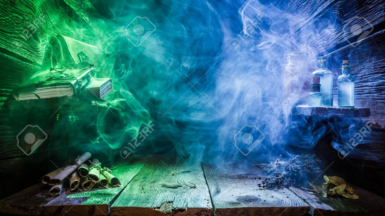 Halloween background with blue and green light and copy space - 109412172