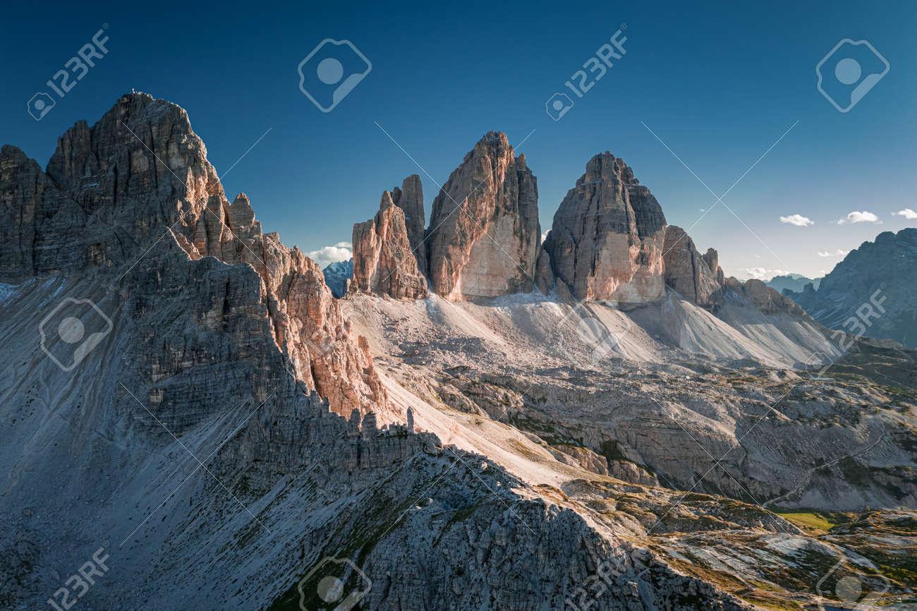 Stunning aerial view of Tre Cime di Lavaredo, Dolomites - 133947407