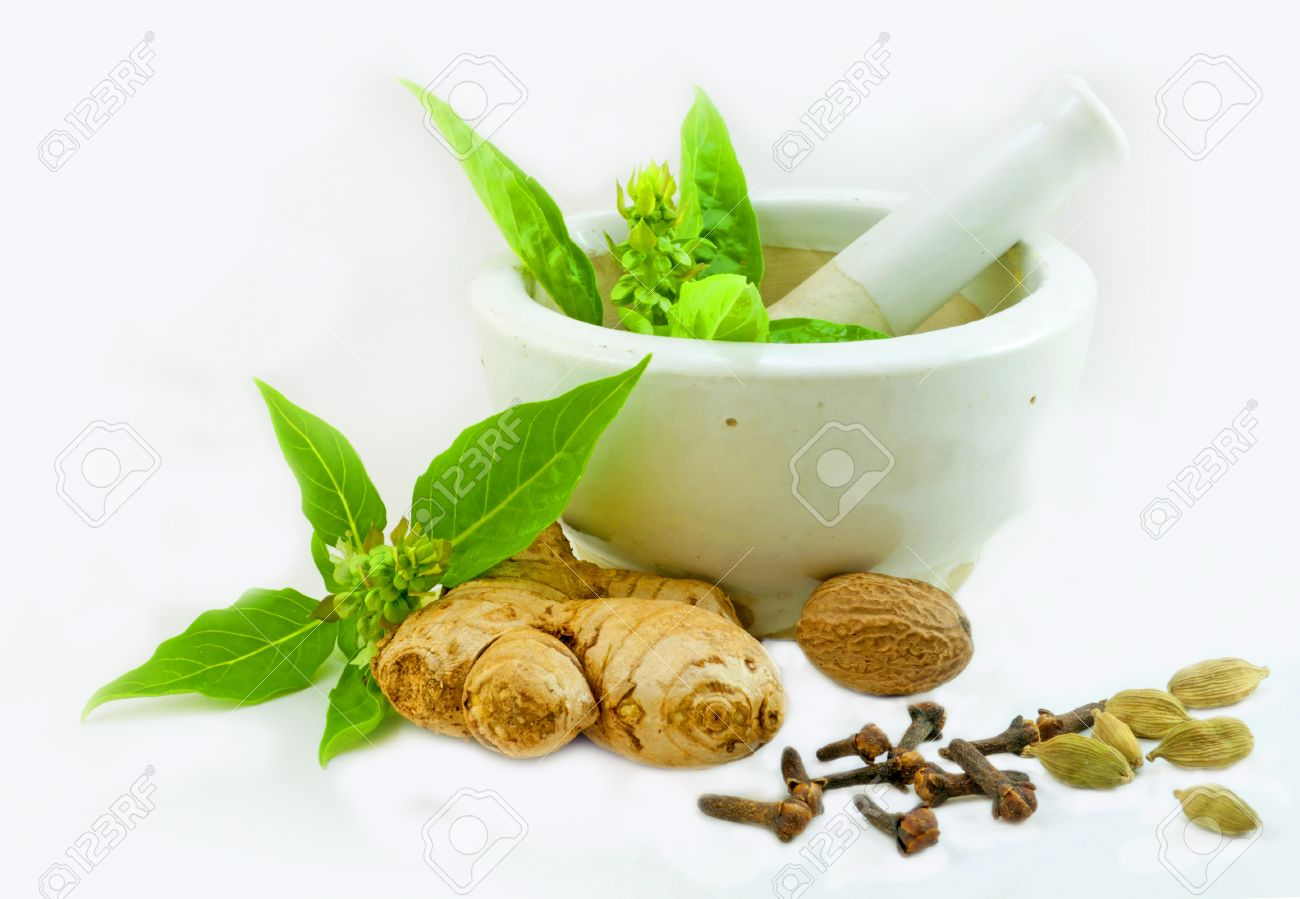Image of Ayurvedic Medicine preparation using herbs from kitchen Stock Photo - 10804382