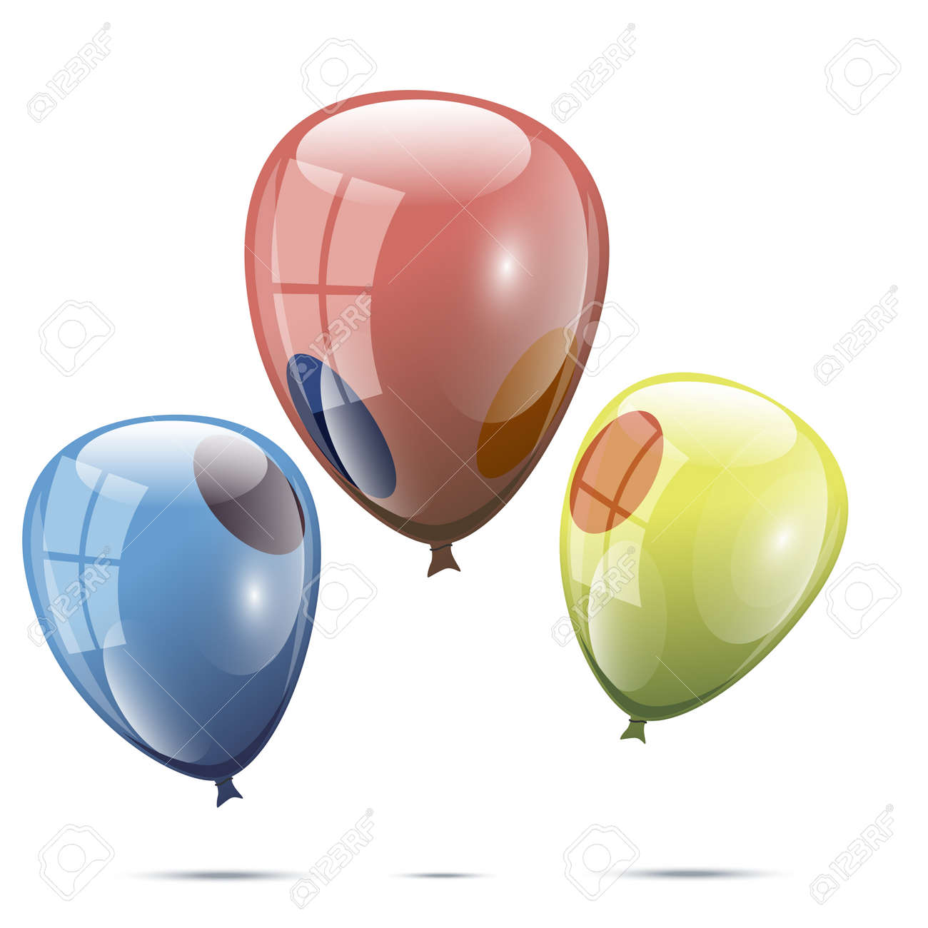 realistic set of three color vector balloons on white background rh 123rf com vector balloons and confetti vector balloons eps