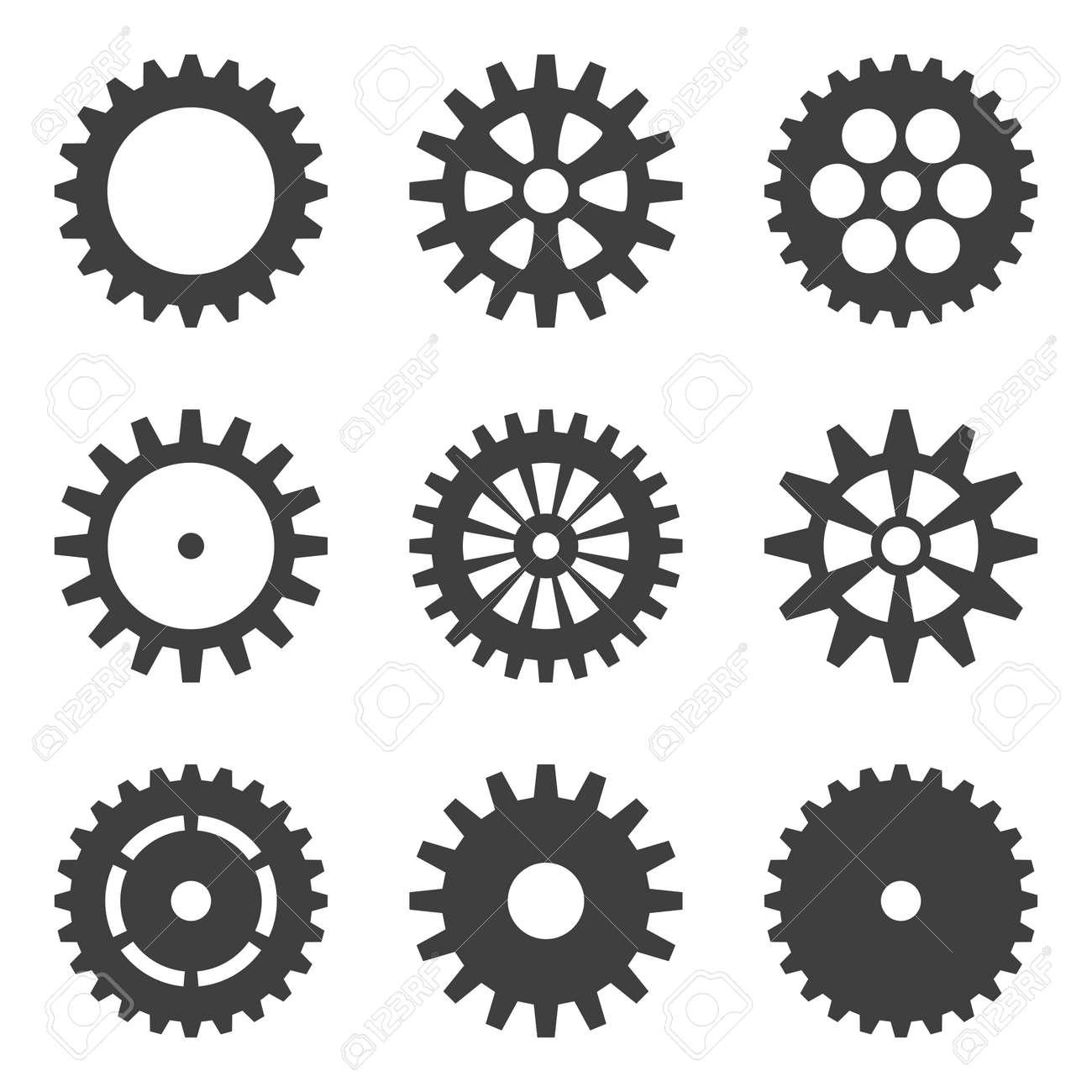 set of cogwheels icons. Flat design vector elements. - 125583875