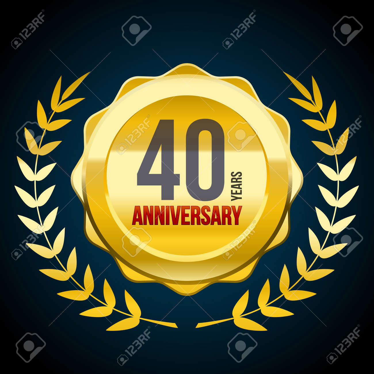 40 Years anniversary Gold and Red badge logo. Vector illustration eps10 - 118574647