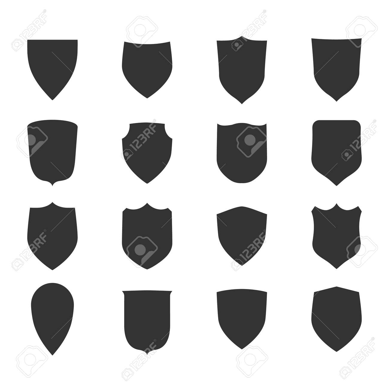 Shield shape icons set. Black label signs. Symbol of protection, - 135879223