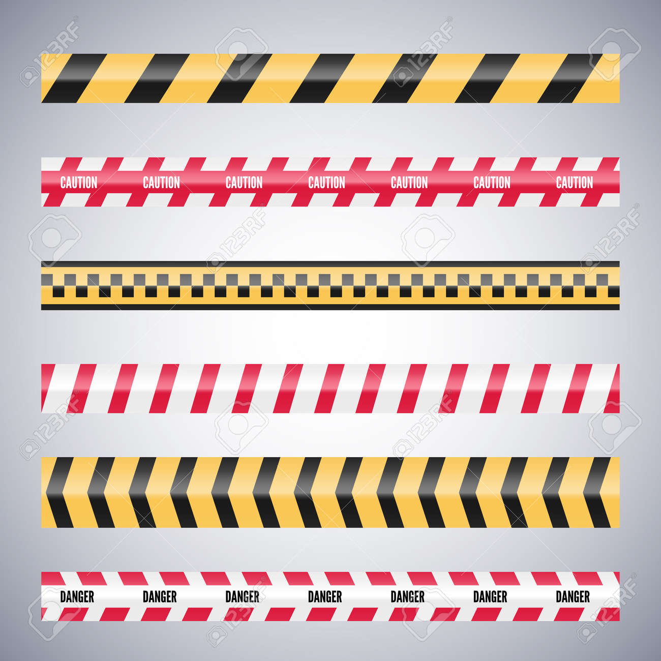 Set of caution danger tapes. Warning security vector. Barricade lines. - 135879503