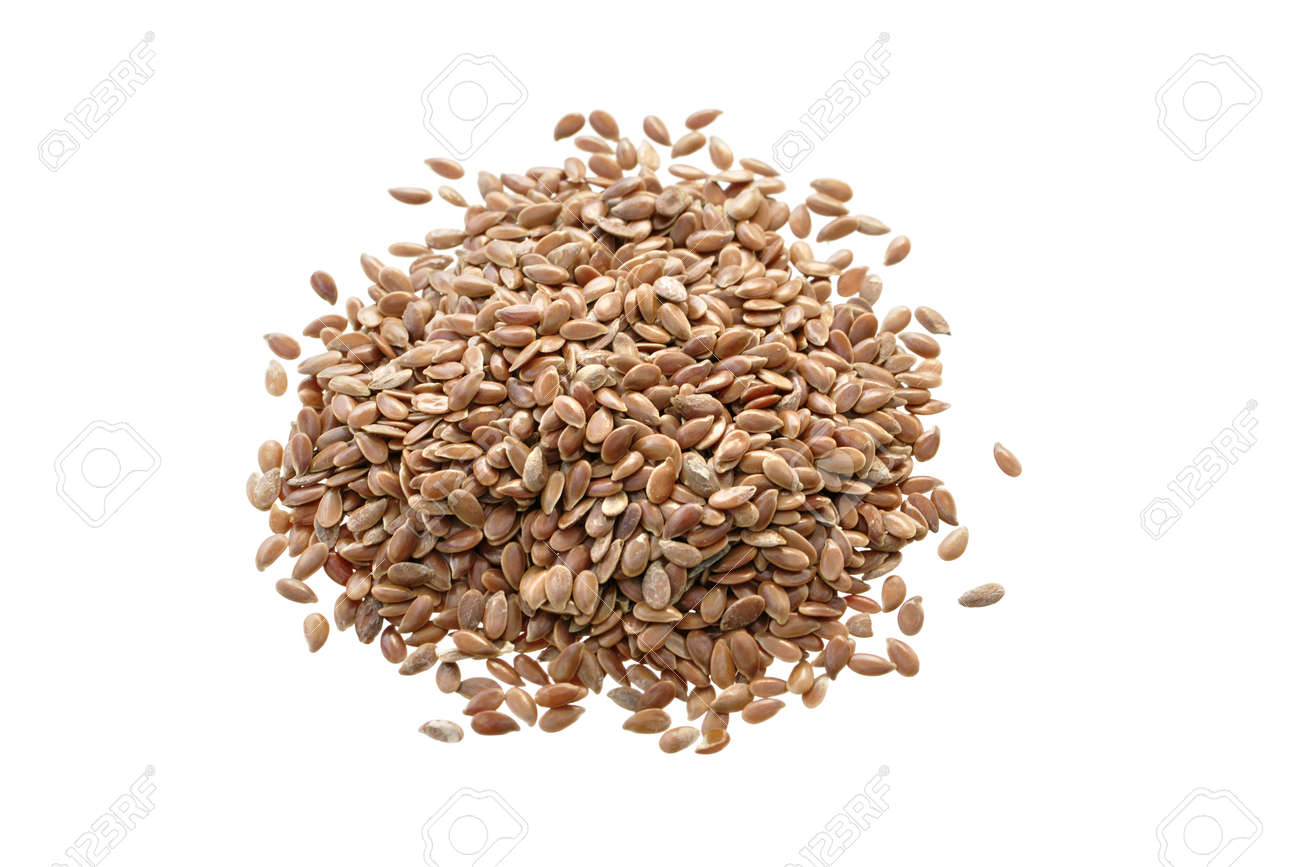 Pile of raw flax seed isolated on white Stock Photo - 12234767
