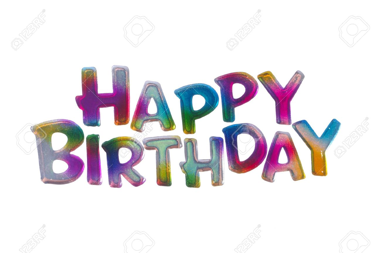 coloful happy birthday words isolated on white background stock