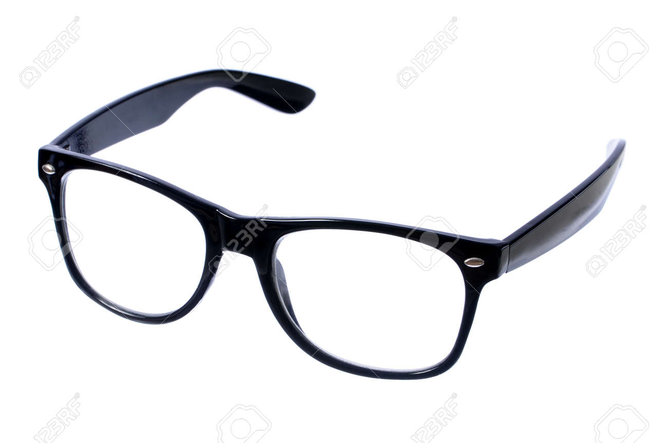 closeup pair of glasses with black frame isolated on white stock photo 15457520