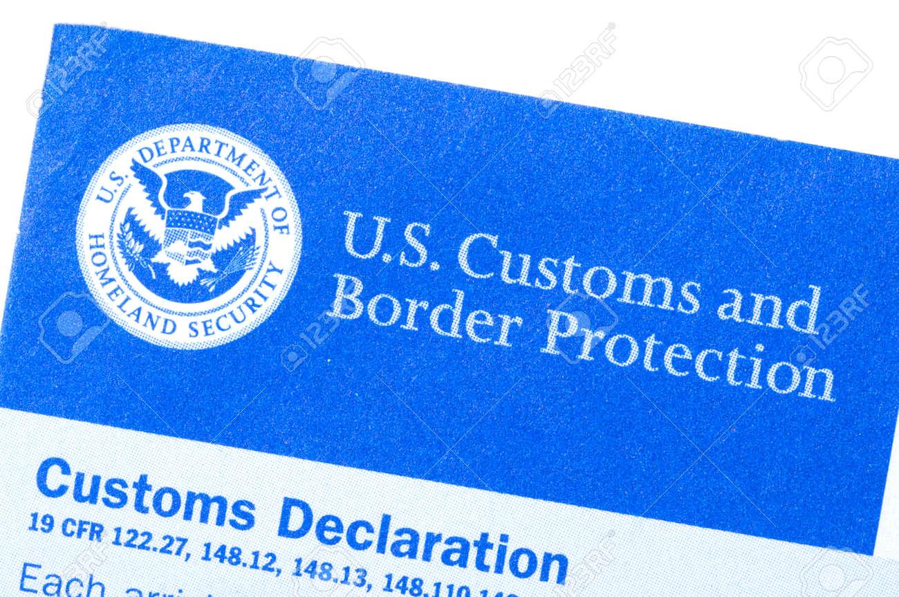 Macro Closeup Of U.S. Customs And Border Protection Declaration ...