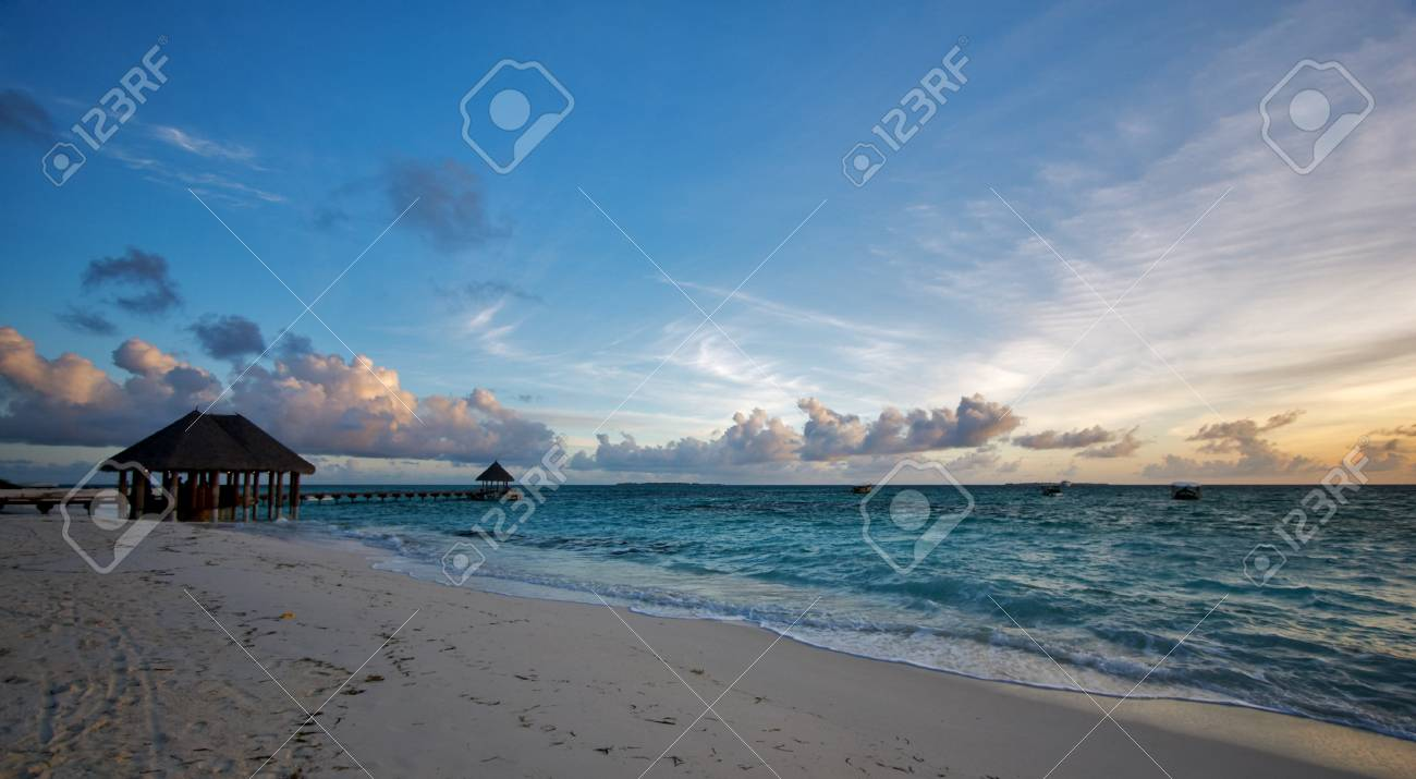 Awesome view of the tropical island at sunset/sunrise Stock Photo - 1416034