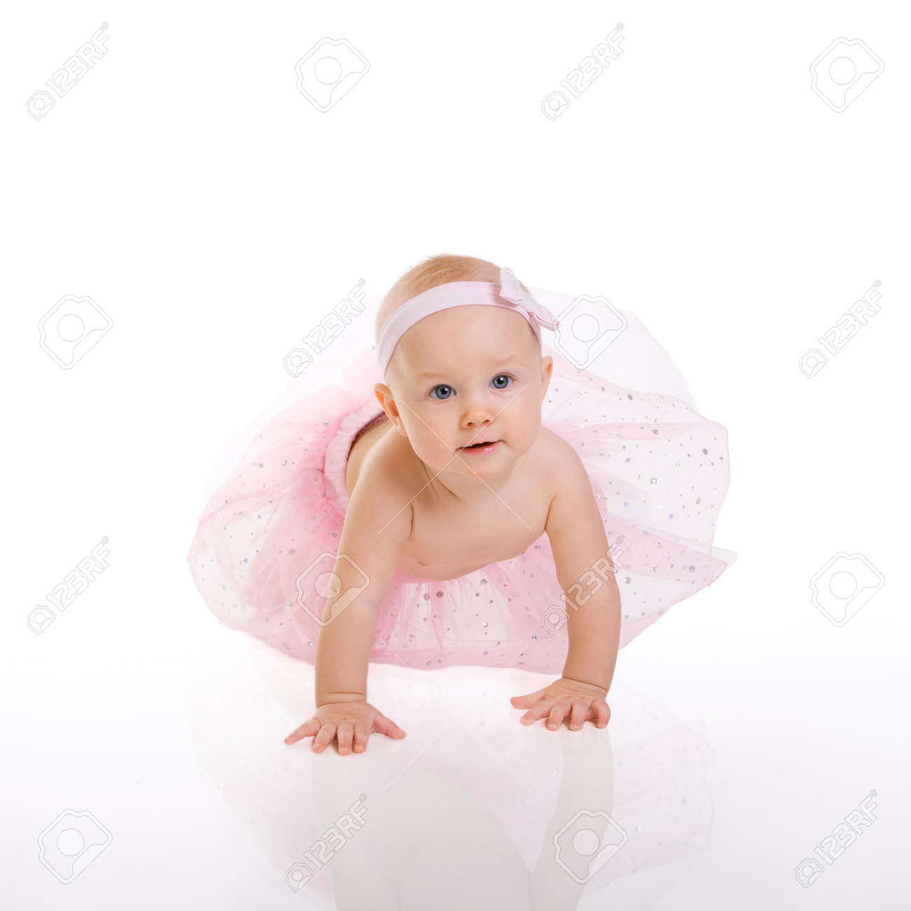 baby ballerina. very cute happy baby girl wearing ballerina skirt
