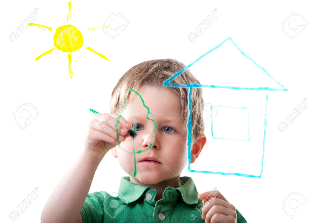 Little Boy Drawing On Glass. Isolated On White. Stock Photo ...