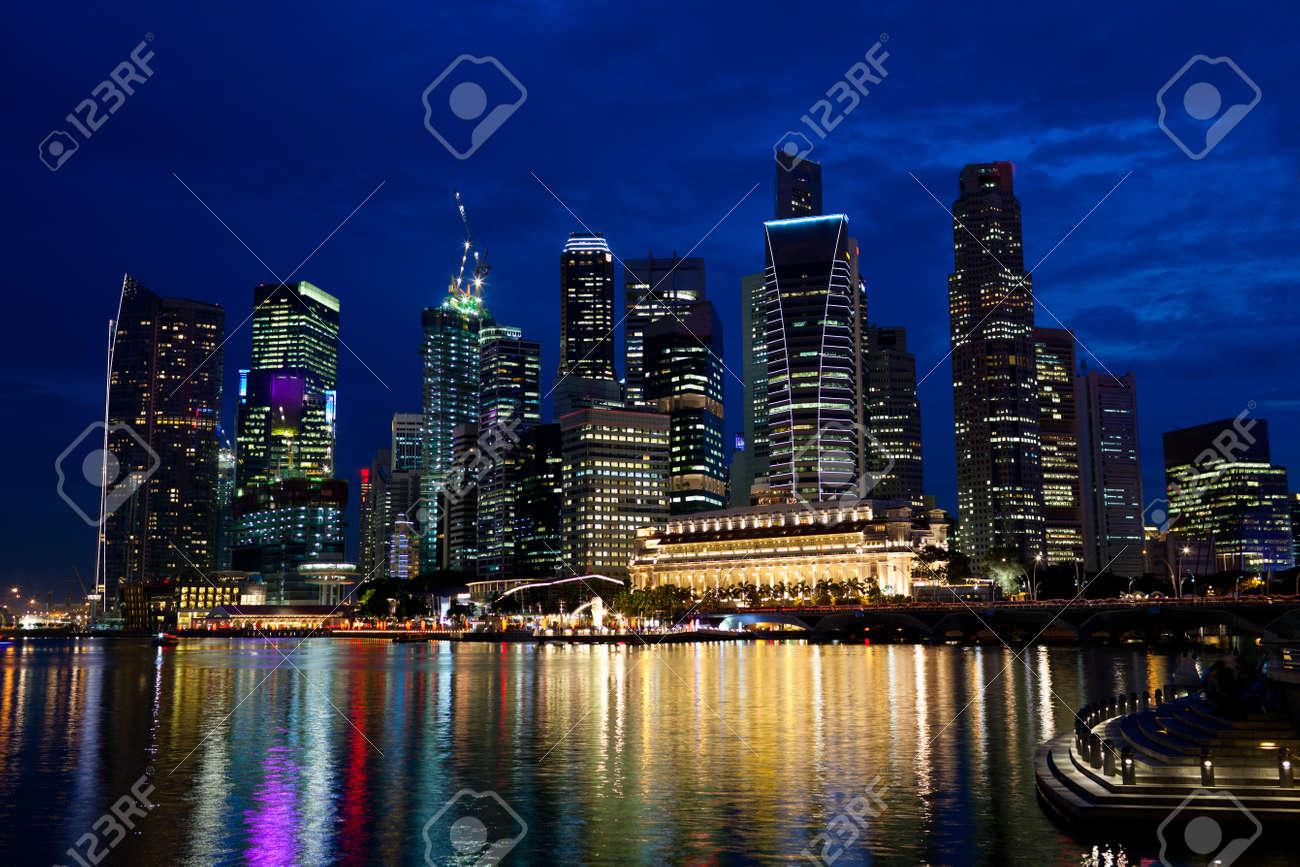 Singapore city skyline at night Stock Photo - 7407043