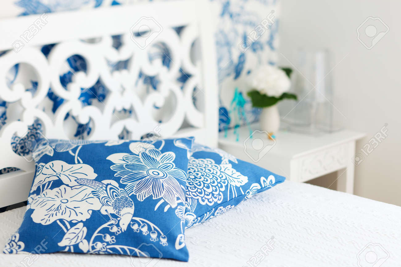 Nicely Decorated Bedrooms Pillows Closeup In Nicely Decorated Bedroom In Blue And White