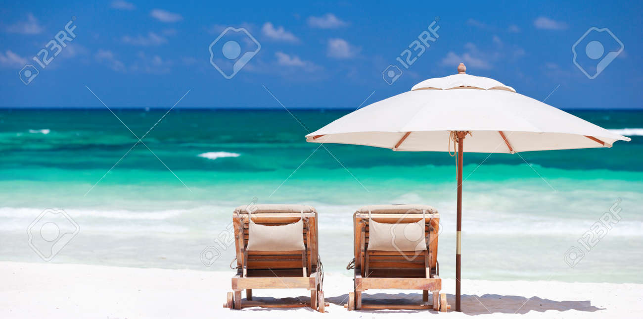 Beach with chairs - Beach Chairs Two Chairs And Umbrella On Stunning Tropical Beach In Tulum Mexico