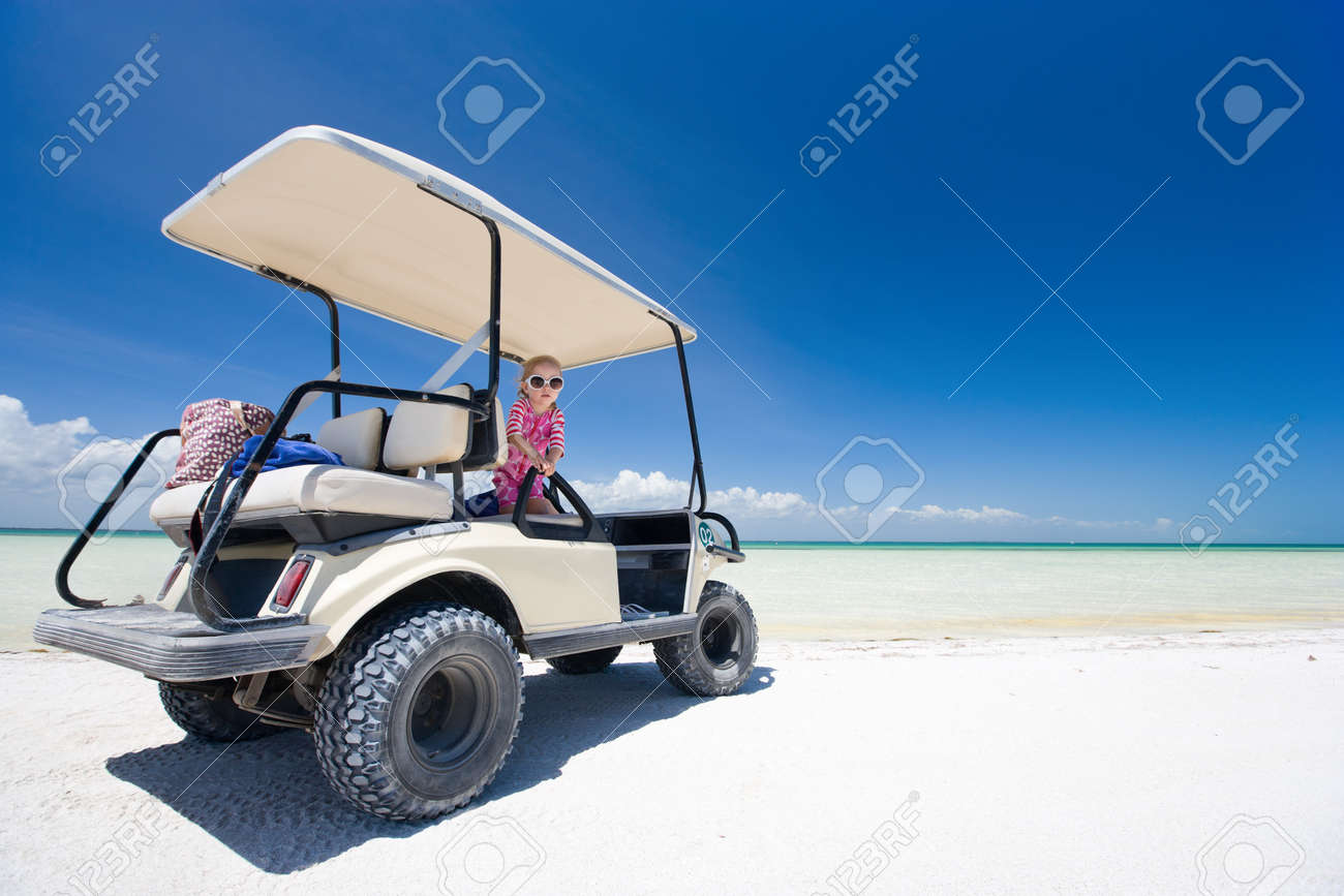 Golf cart at tropical white sand beach in Holbox Mexico Stock Photo - 10274566