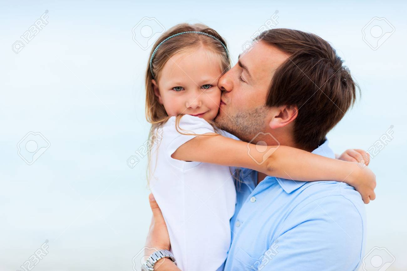 Happy father and his adorable little daughter outdoors Stock Photo - 30071287