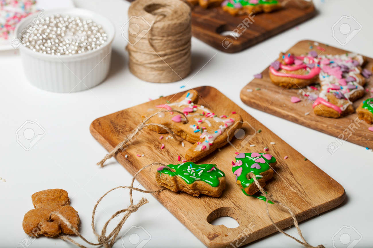 Homemade Christmas Cookies Decorated By Kids Stock Photo, Picture ...