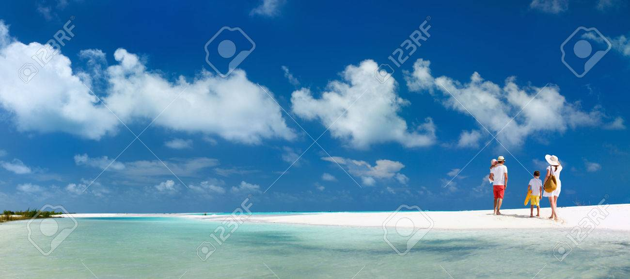 Panorama of  a happy family with kids on tropical beach vacation Stock Photo - 42148105