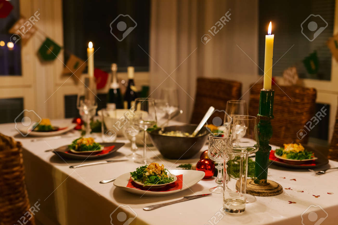 Family dinner table with food - Dinner Table Beautiful Table Setting For Christmas Party Or New Year Celebration At Family Home