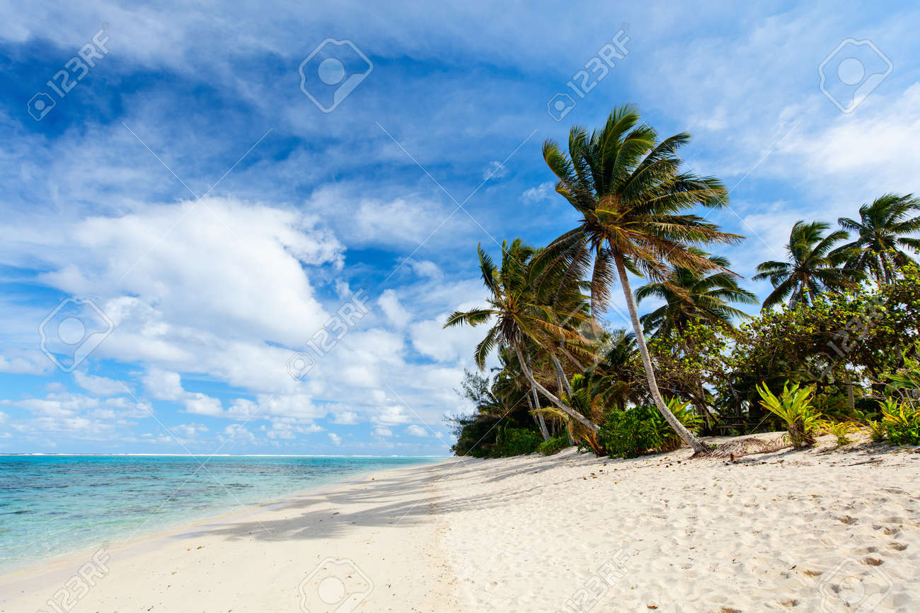 Beautiful tropical beach with palm trees, white sand, turquoise ocean water and blue sky at Cook Islands, South Pacific - 48547967