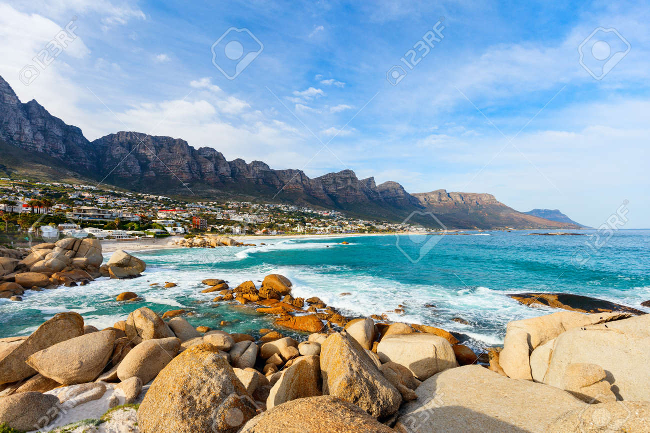 Landscape of beautiful Camps bay in Cape Town with Twelve Apostles mountain range in background - 63979751
