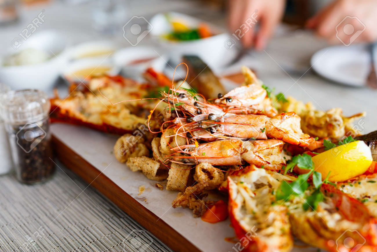 Close Up Of Delicious Grilled Seafood Platter Stock Photo Picture And Royalty Free Image Image 63984821