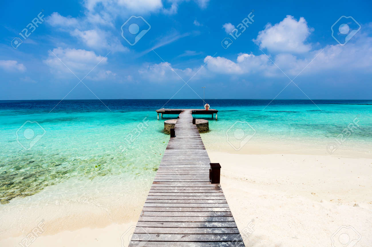 Beautiful tropical beach on exotic island at Maldives - 75281598