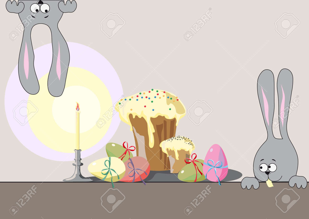 two hares, Easter cakes and multi-colored eggs from candles Stock Vector - 13029629