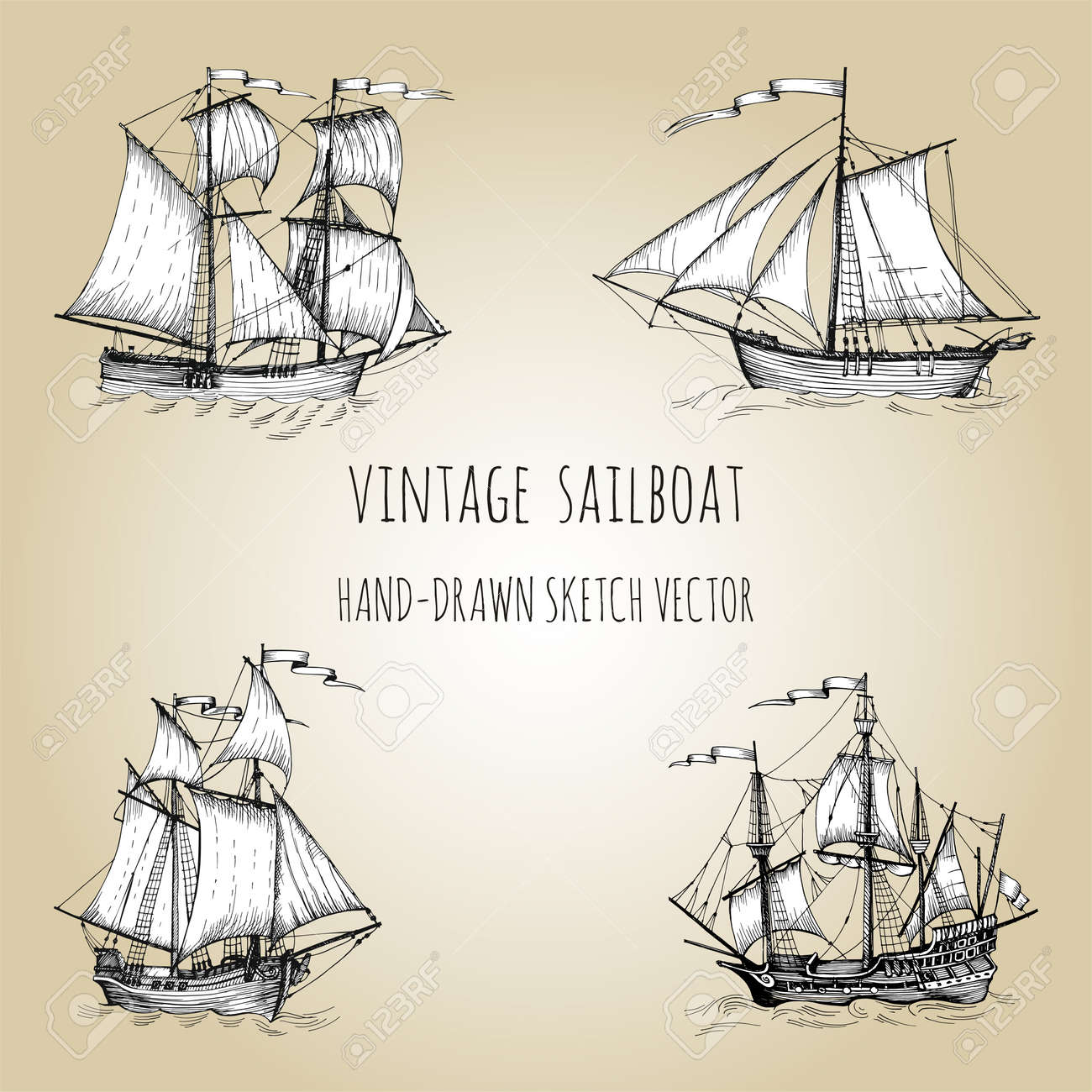 Old caravel, vintage sailboat. Hand drawn vector sketch. Detail of the old geographical maps of sea - 152789762
