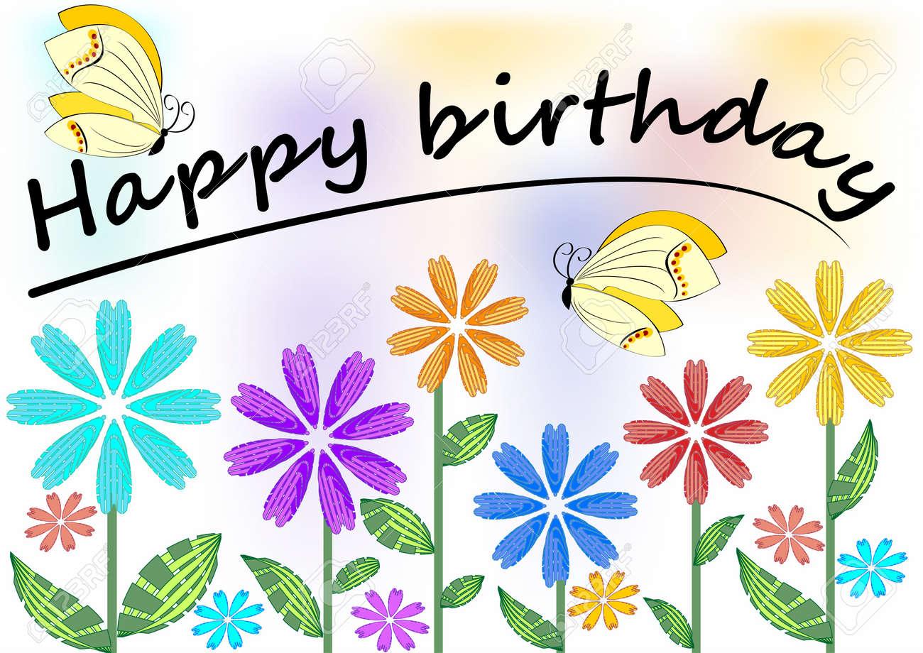 Cartel Del Feliz Cumpleaños Con Flores Y Mariposas De Colores ...