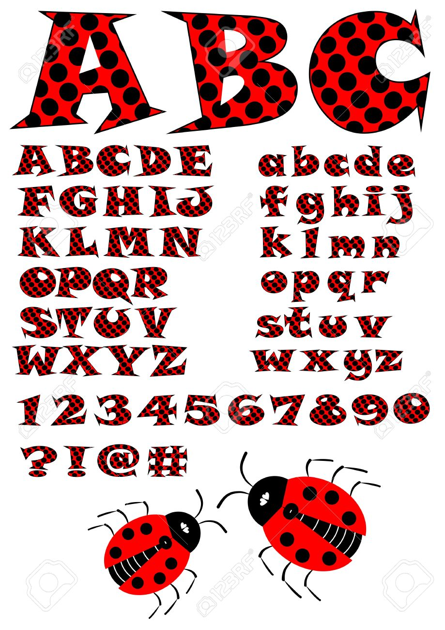 alphabet in ladybug style, uppercase and lowercase letters in